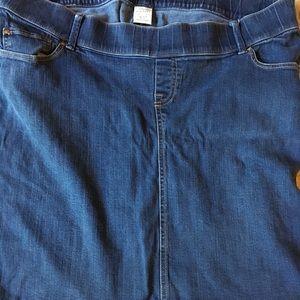Old navy maternity stretch blue jean skirt size L